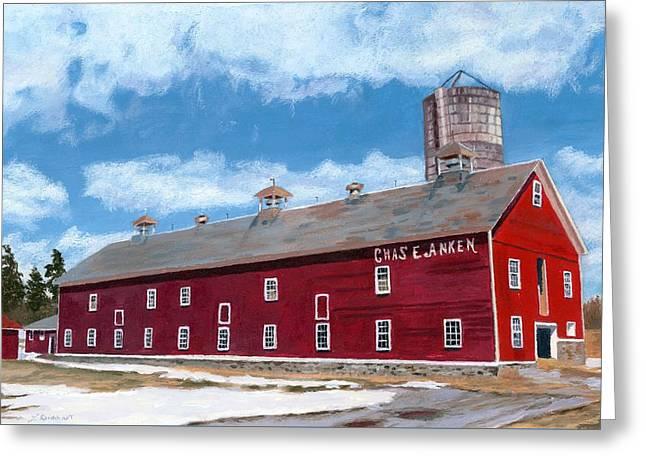Greeting Card featuring the painting Anken's Barn by Lynne Reichhart