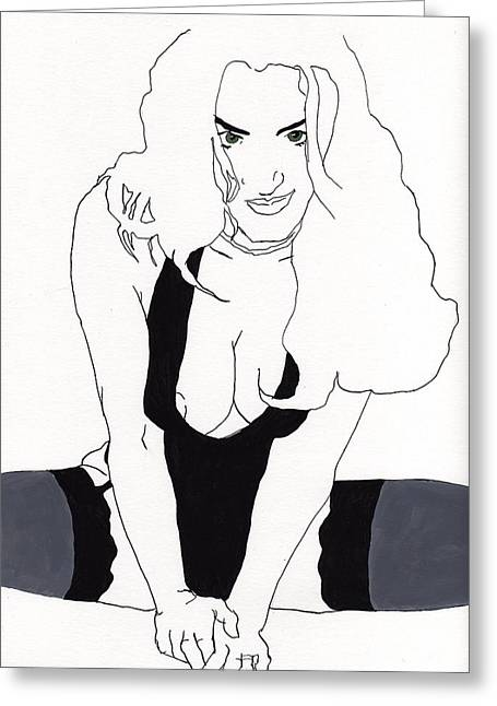 Anna-black Stockings Greeting Card