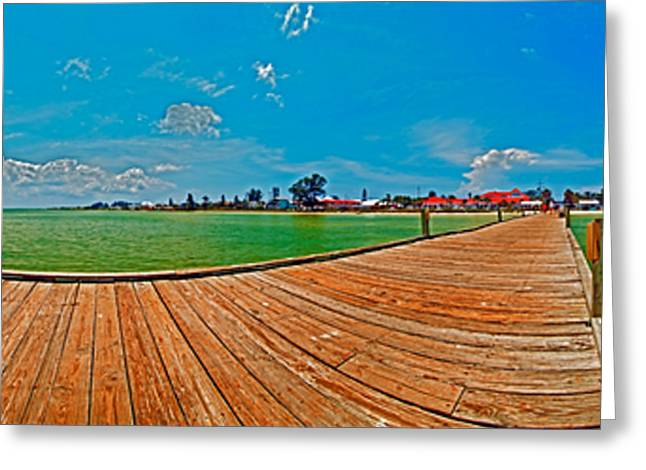 Anna Maria Island Seen From The Historic City Pier Panorama Greeting Card