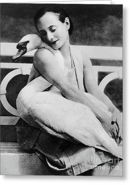 Anna Pavlova With Her Pet Swan Jack, 1905 Greeting Card