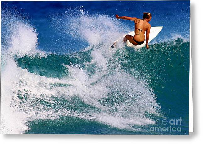 Anna Surfing In Hawaii Greeting Card by Paul Topp