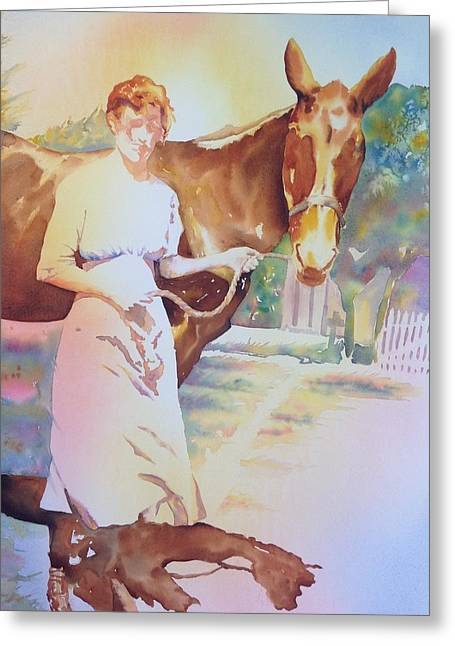 Anna Violet Stubblefield And Lightning Circa1913 Greeting Card
