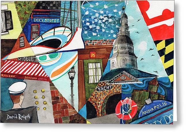 Annapolis Dock Dine Assemble Greeting Card