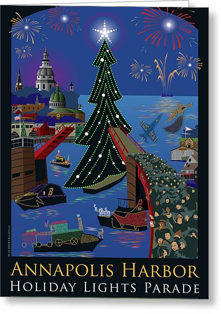 Fire Works Greeting Cards - Annapolis Holiday Lights Parade Greeting Card by Joe Barsin