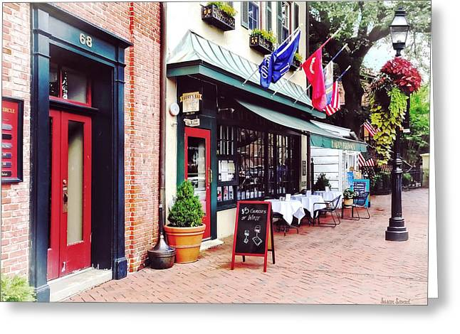Annapolis Md - Restaurant On State Circle Greeting Card by Susan Savad