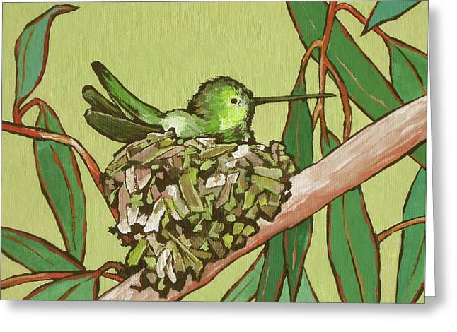 Annas Hummer Greeting Card by Sandy Tracey