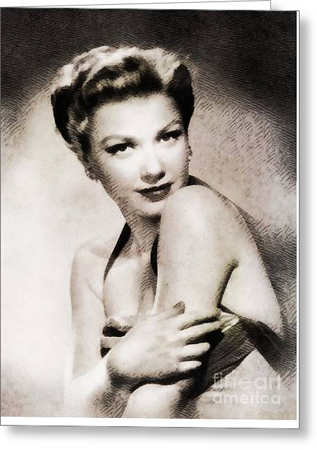 Anne Baxter, Vintage Actress By John Springfield Greeting Card by John Springfield