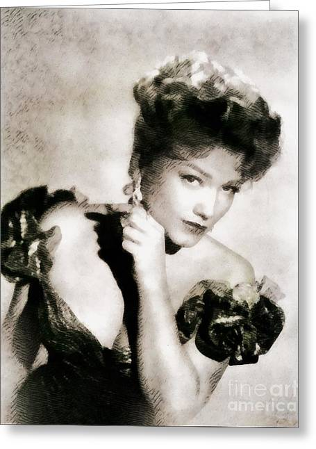 Anne Baxter, Vintage Hollywood Actress Greeting Card by John Springfield
