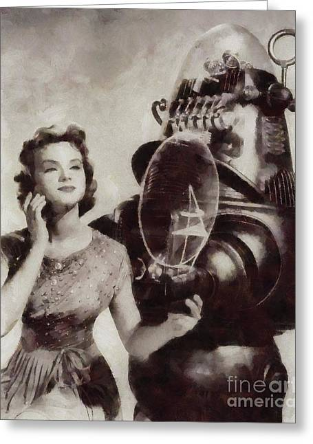 Anne Francis And Robby The Robot From Forbidden Planet Greeting Card by Sarah Kirk