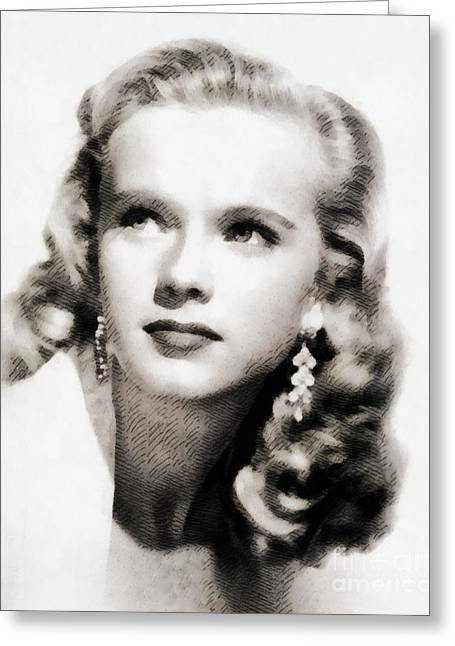 Anne Francis, Vintage Actress By John Springfield Greeting Card by John Springfield
