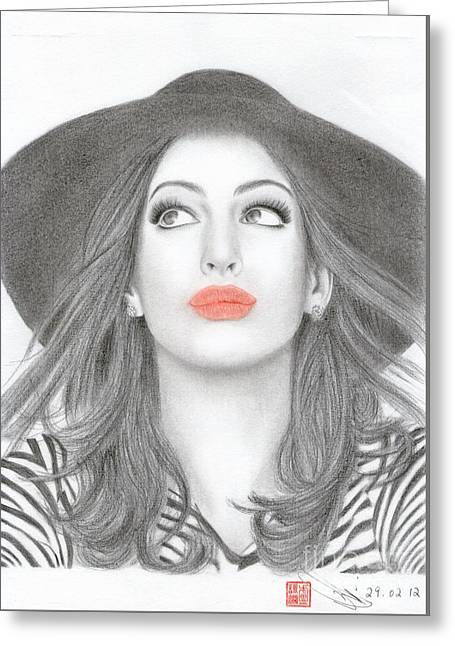 Greeting Card featuring the drawing Anne Hathaway by Eliza Lo
