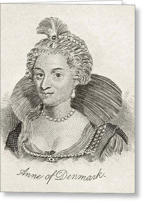 Anne Of Denmark 1574-1619 Queen Consort Greeting Card by Vintage Design Pics
