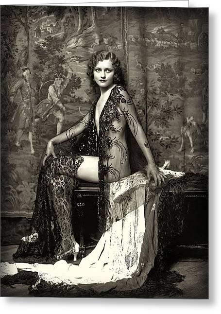 Anne Patterson Ziegfeld Girl C. 1923 Greeting Card by Daniel Hagerman
