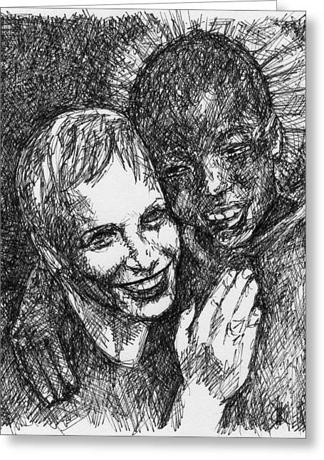 Annie And Boy Greeting Card by KM Paintings