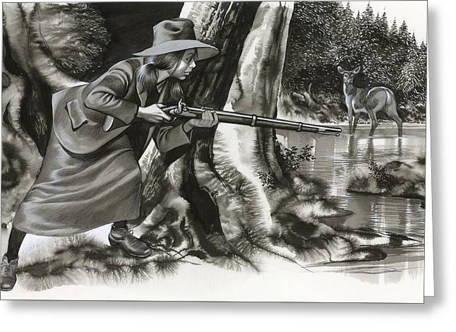 Annie Oakley Shooting A Buck Greeting Card