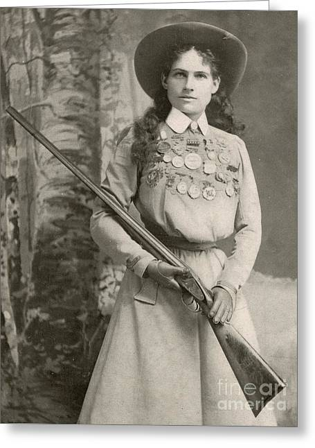 Annie Oakley With A Rifle, 1899 Greeting Card