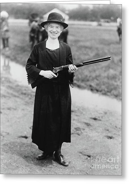 Annie Oakley With The Gun Buffalo Bill Gave Her, 1922 Greeting Card