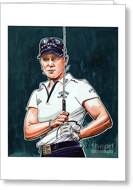 Annika Sorenstam Greeting Card by Dave Olsen