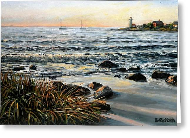 Annisquam Beach And Lighthouse Greeting Card