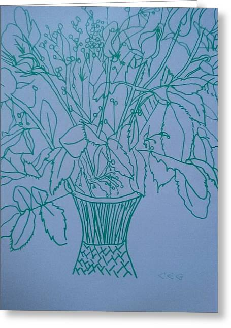 Anniversary Flowers In Green Greeting Card by Modern Metro Patterns and Textiles