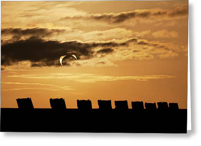 Annular Eclipse Over Cadillac Ranch Greeting Card
