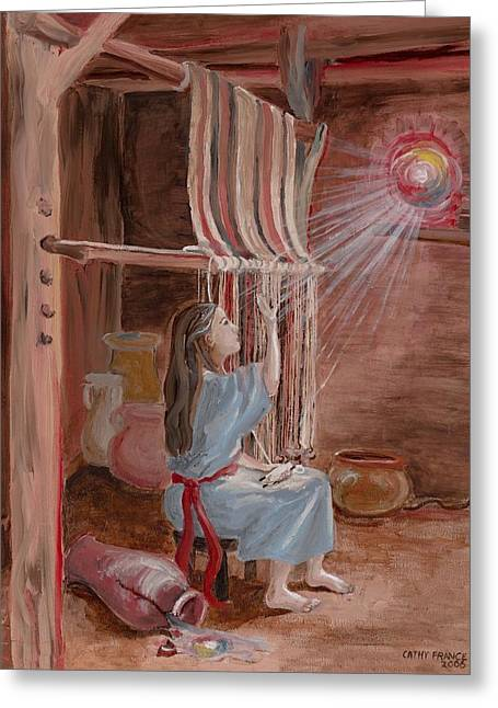Annunciation To Mary Greeting Card by Cathy France