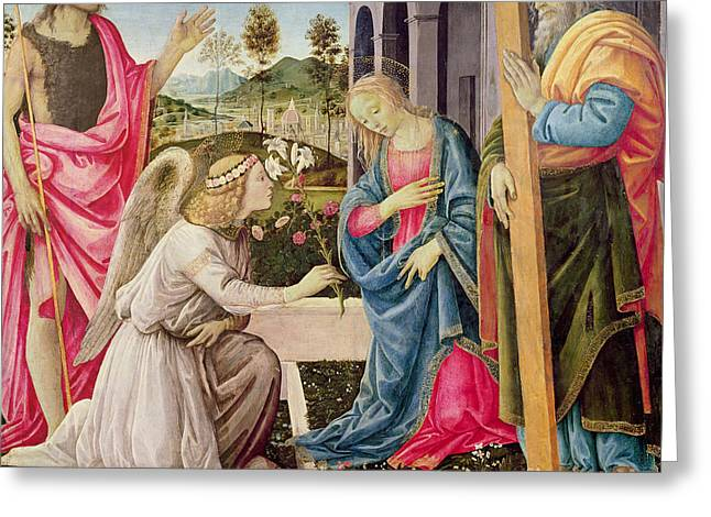 Annunciation With Saint Joseph And Saint John The Baptist Greeting Card