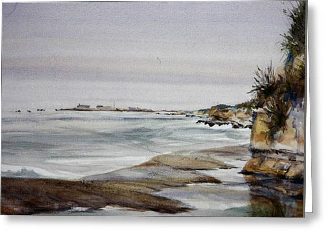 Ano Nuevo Greeting Card by Howard Luke Lucas