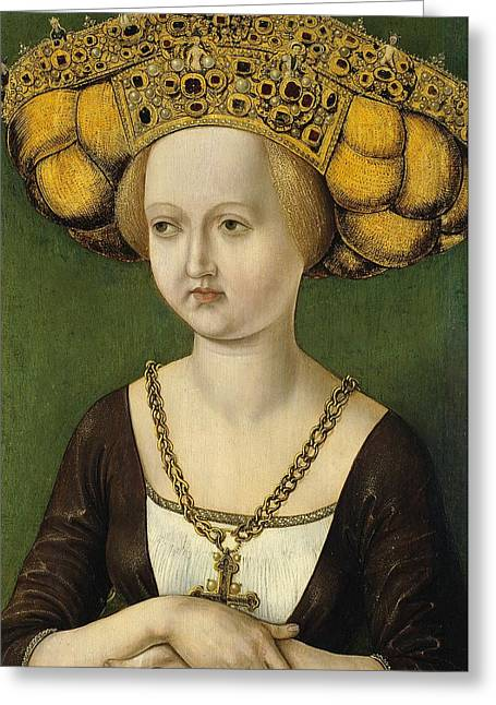 Anonymous Austrian Artist Active At The Court Of Tyrol Ca. 1485, Portrait Of Kunigunde Of Austria Ca Greeting Card by Celestial Images