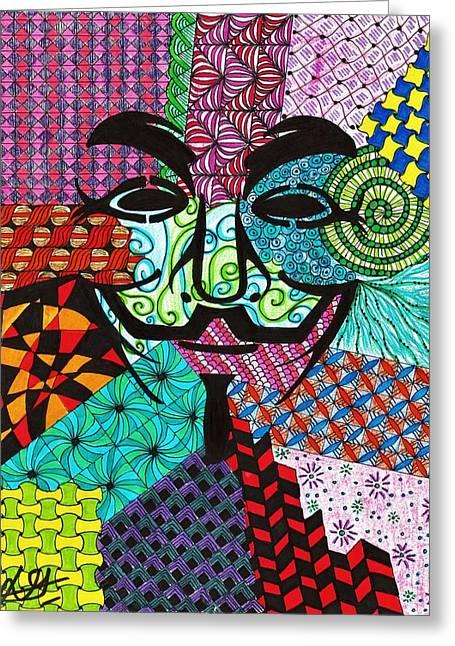 Anonymous Mask Handmade Colored Zentangle Greeting Card by Drishti Gupta