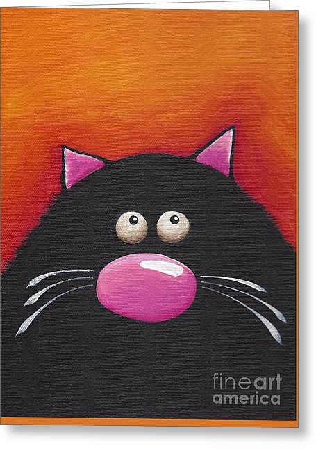 Another Chilling Cat Greeting Card by Lucia Stewart