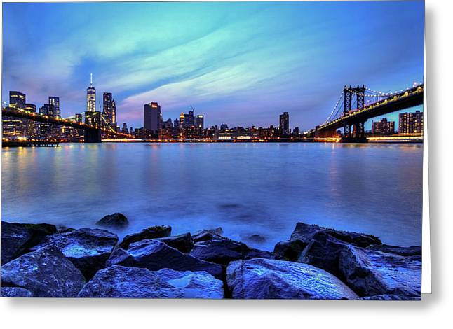 Another Day Comes To A Close In Nyc Greeting Card by Daniel Portalatin
