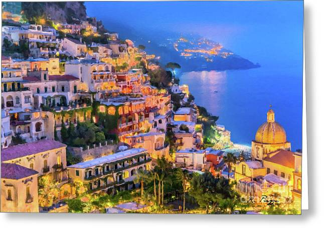 Another Glowing Evening In Positano Greeting Card