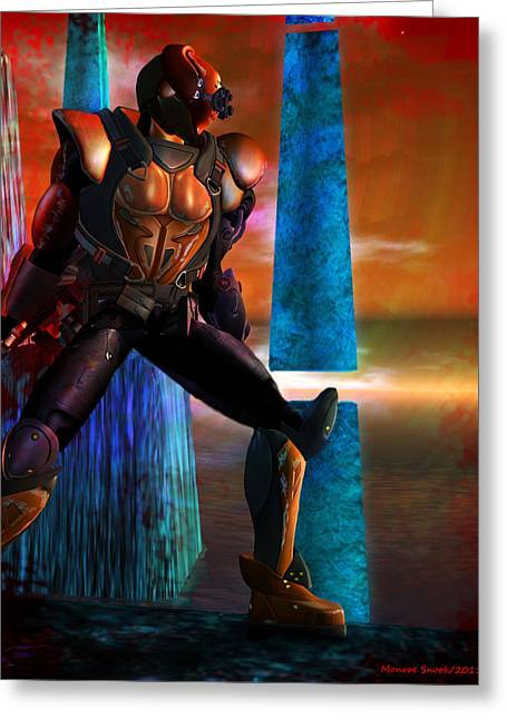 Another Super Hero Greeting Card by Monroe Snook