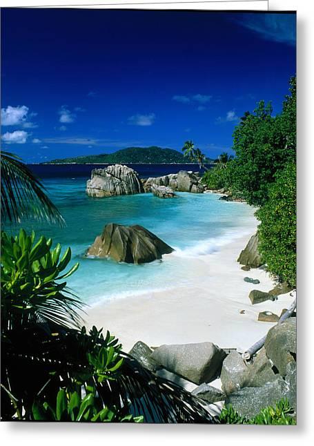 Anse Patatran La Digue Seychelles Greeting Card by Panoramic Images