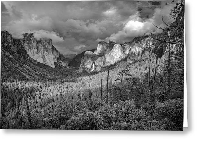 Greeting Card featuring the photograph Ansel Adams Inspired Yosemite Tunnel View by Scott McGuire