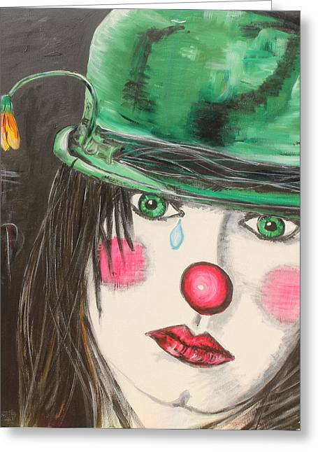 Greeting Card featuring the painting Ansichten Eines Clowns by Sladjana Lazarevic