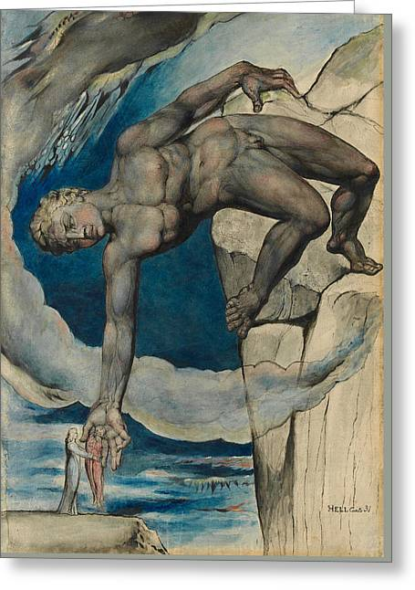 Antaeus Setting Down Dante And Virgil In The Last Circle Of Hell Greeting Card by William Blake