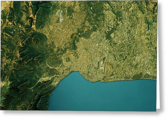 Antalya Topographic Map Natural Color Top View Greeting Card by Frank Ramspott
