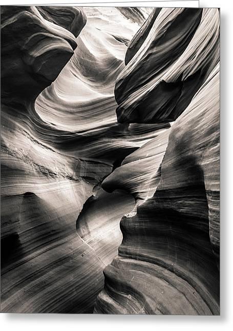 Antelope Canyon Bw Greeting Card