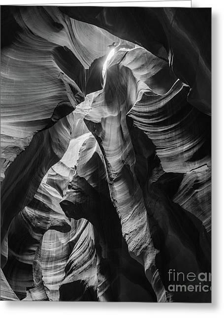 Antelope Canyon In Bw Greeting Card by Jim Chamberlain