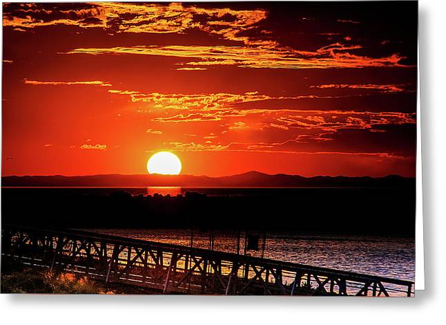 Antelope Island Marina Sunset Greeting Card