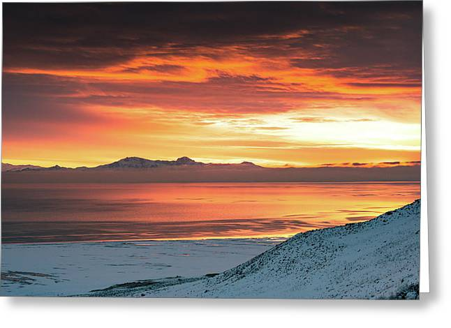 Antelope Island Sunset Greeting Card