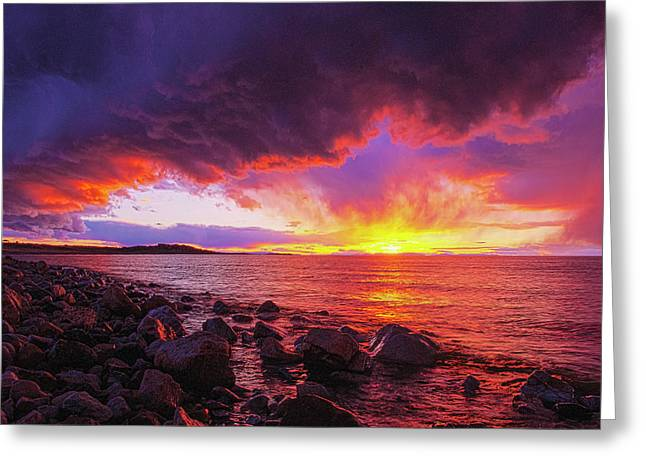 Antelope Island Sunset Greeting Card
