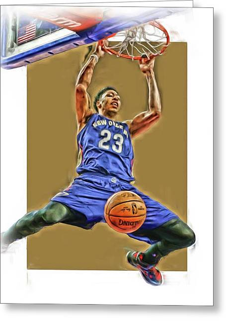 Anthony Davis New Orleans Pelicans Oil Art Greeting Card by Joe Hamilton