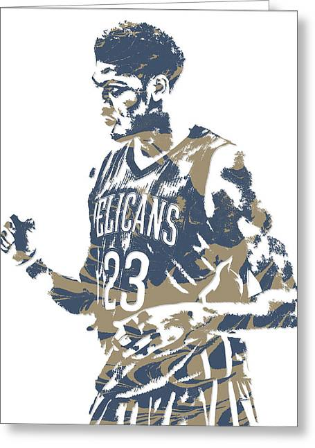 Anthony Davis New Orleans Pelicans Pixel Art 12 Greeting Card
