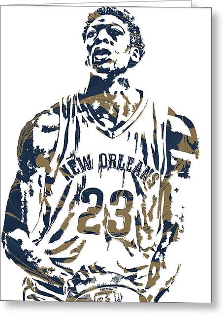 Anthony Davis New Orleans Pelicans Pixel Art 4 Greeting Card