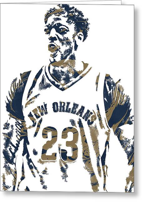 Anthony Davis New Orleans Pelicans Pixel Art 5 Greeting Card