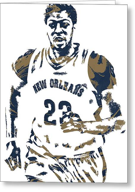Anthony Davis New Orleans Pelicans Pixel Art 6 Greeting Card