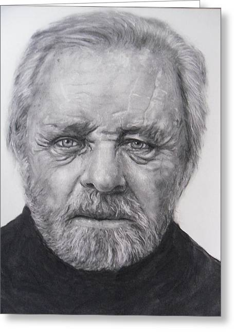 Anthony Hopkins Greeting Card by Adrienne Martino